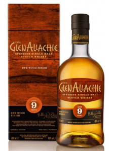 GlenAllachie 9 Year Old Rye Wood Finish | Speyside Single Malt Scotch Whisky | 70 cl, 48 %